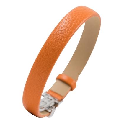 NIMA Atelier Seth Kalfslederen Armband met Vouwsluiting Oranje