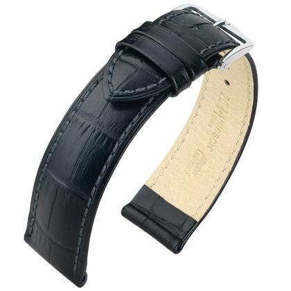 Hirsch Duke Horlogebandje Alligatorgrain Zwart