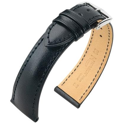 Hirsch Siena Artisan Toscaans Kalfsleer Horlogebandje Zwart
