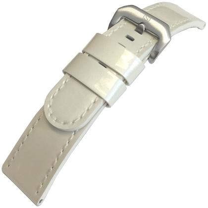 Lakleer Horlogebandje Lenzers Wit 22mm