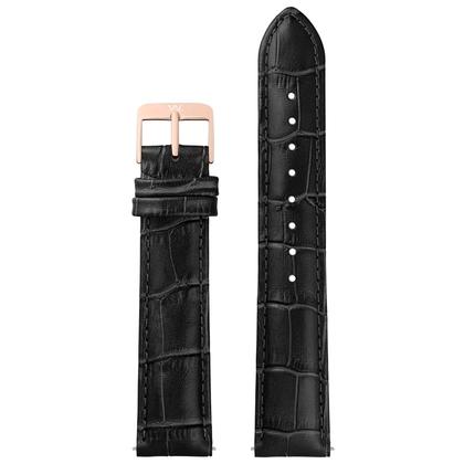 William L. Horlogeband Zwart Alligatorgrain Rose Stalen Gesp 20mm