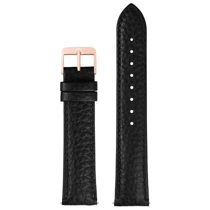 William L. Horlogeband Zwart Buffelgrain Rose Stalen Gesp 20mm